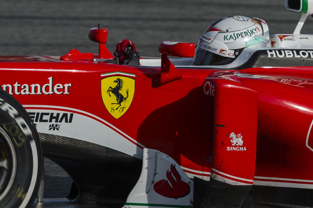 vettel: Driver Sebastian Vettel. Ferrari. Formula One Test Days at Circuit de Catalunya. Montmelo, Spain. March 2, 2016