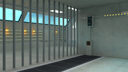 jail: Futuristic inside jail Stock Photo