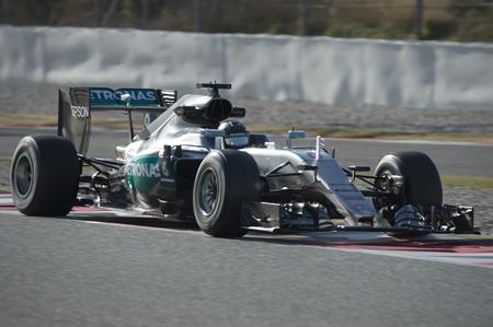 formula one: Driver Nico Rosberg. Team Mercedes AMG. Formula One Test Days at Circuit de Catalunya. Montmelo, Spain. March 4, 2016 Editorial