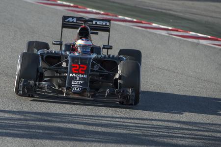 formula one: Driver Jenson Button . Team McLaren Honda. Formula One Test Days at Circuit de Catalunya. Montmelo, Spain. March 4, 2016