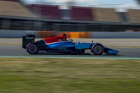 formula one: Driver Rio Haryanto . Team Manor F1. Formula One Test Days at Circuit de Catalunya. Montmelo, Spain. March 4, 2016