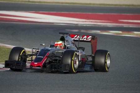 formula one: Driver Esteban Gutierrez. Team Haas F1. Formula One Test Days at Circuit de Catalunya. Montmelo, Spain. March 4, 2016