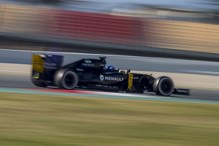 formula one: Driver Jolyon Plamer . Team Renault Sport. Formula One Test Days at Circuit de Catalunya. Montmelo, Spain. March 4, 2016