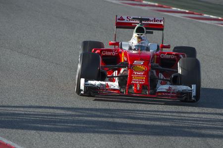 Driver Sebastian Vettel. Team Ferrari. Formula One Test Days at Circuit de Catalunya. Montmelo, Spain. March 4, 2016