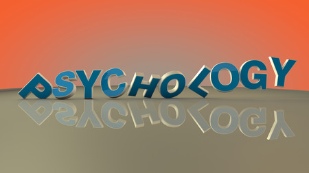 bibliomania: Psychology 3d text and floor Stock Photo