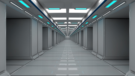 Futuristic spaceship inside corridor Stock Photo
