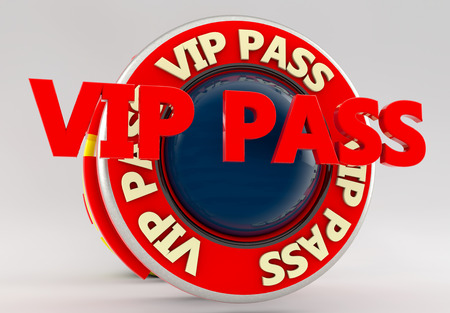 celebrities: VIP Pass network 3d sign Stock Photo