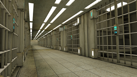 jail: 3d futuristic inside jail Stock Photo
