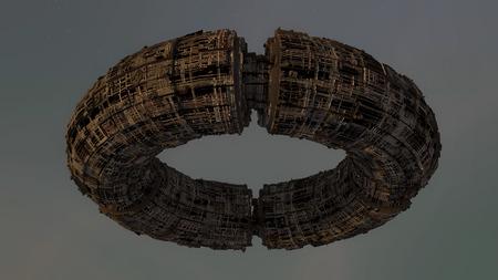render: 3d render. UFO Spaceship concept