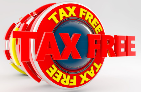 fiscal: 3d render. Tax free icon sign