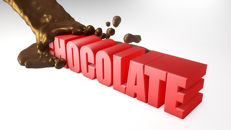 melted: 3d text and melted chocolate