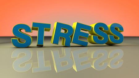 bibliomania: 3D text and word stress Stock Photo
