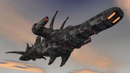 kidnap: 3d render. Futuristic spaceship UFO Stock Photo