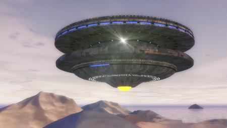 abducted: 3d render. Futuristic spaceship UFO Stock Photo