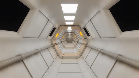 hallway: 3d render interior. Futuristic hallway. Interior design concept Stock Photo