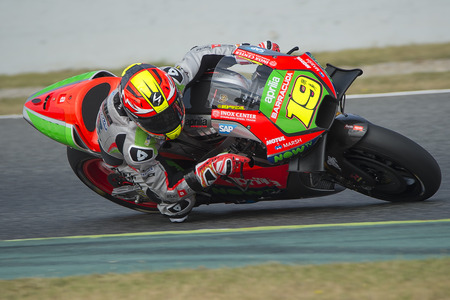 alvaro: Driver Alvaro Bautista. Aprilia Team. Monster Energy Grand Prix of Catalonia MotoGP at Circuit of Catalonia. Barcelona, Spain - June, 04, 2016