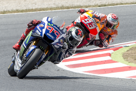moto gp: Drivers Jorge Lorenzo and Marc Marquez. Monster Energy Grand Prix of Catalonia MotoGP at Circuit of Catalonia. Barcelona, Spain, June 5, 2016