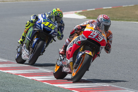 Drivers Marc Marquez and Valentino Rossi. Monster Energy Grand Prix of Catalonia MotoGP at Circuit of Catalonia. Barcelona, Spain, June 5, 2016