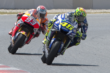 moto gp: Drivers Valentino Rossi and Marc Marquez. Monster Energy Grand Prix of Catalonia MotoGP at Circuit of Catalonia. Barcelona, Spain, June 5, 2016