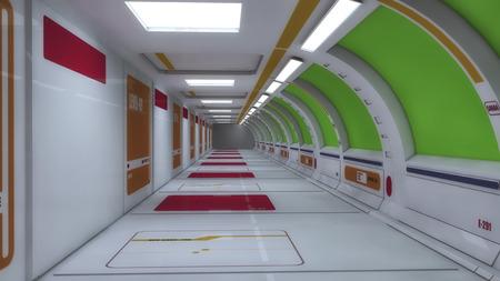 hallway: 3d render interior. Futuristic hallway. Green screen