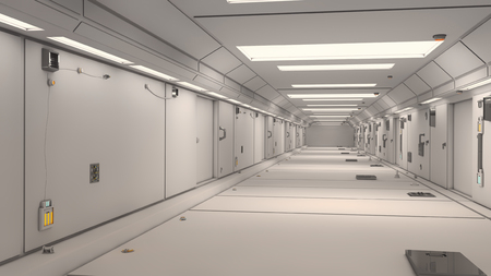 space station: 3d render interior. Futuristic hallway. Interior design concept Stock Photo