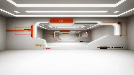 3d render interior. Futuristic hallway. Interior design concept 写真素材