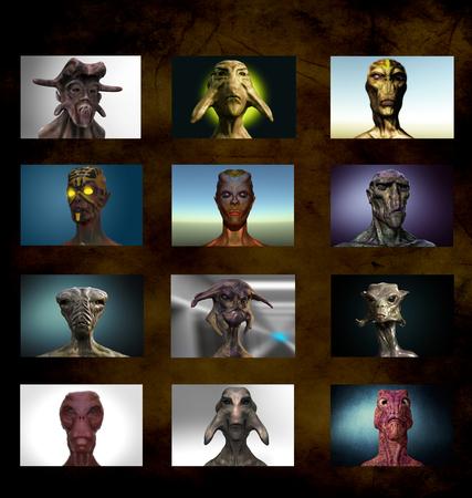 abduction: Alien portrait varied Stock Photo