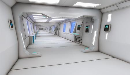 인테리어 3d 렌더링. 미래의 복도. 인테리어 디자인의 개념