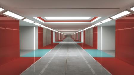 3d render interior. Futuristic hallway. Interior design concept Stock Photo