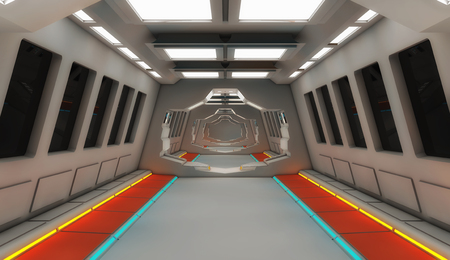 3d render interior. Futuristic hallway. Interior design concept Stock Photo
