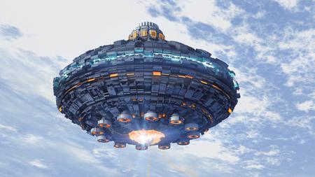 Ongeïdentificeerd vliegend object. Futuristische ruimteschip.