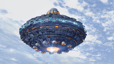 Unidentified flying object. Futuristic spaceship. Stock Photo - 64438352