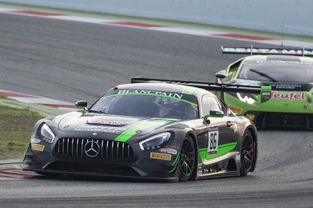 gt3: Mercedes AMG GT3.  Blancpain GT Series Championship at Circuit of Barcelona. Montmelo, Spain. October 2, 2016 Editorial