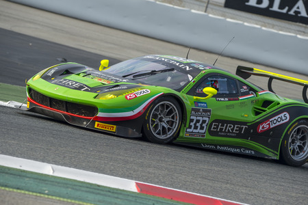 Ferrari 488 GT3.  Blancpain GT Series Championship at Circuit of Barcelona. Montmelo, Spain. October 2, 2016 Editorial