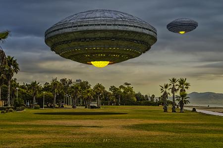 3d render. Futuristic spaceship UFO Stock Photo
