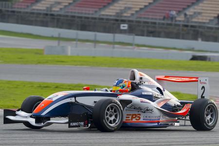 Conducteur Hugo Chevalier. Championnat de France F4 au Circuit de Barcelone. Montmelo, Espagne. 5 novembre 2016