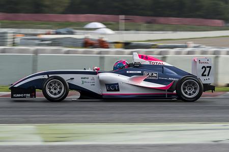 Conducteur Theo Coicaud. Championnat de France F4 au Circuit de Barcelone. Montmelo, Espagne. 5 novembre 2016 Éditoriale
