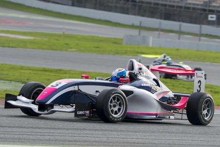 Pilote Casper Roes. Championnat de France F4 au Circuit de Barcelone. Montmelo, Espagne. 5 novembre 2016