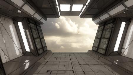 Futuristic alien spaceship hall Stock Photo