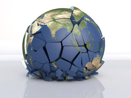 3 D の破壊地球