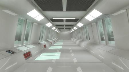 Futuristic spaceship hall Interior architecture