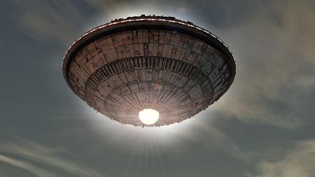 未確認飛行物体。未来の宇宙船。 写真素材