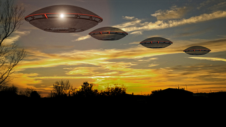 3d render. Unidentified flying object. Futuristic spaceship