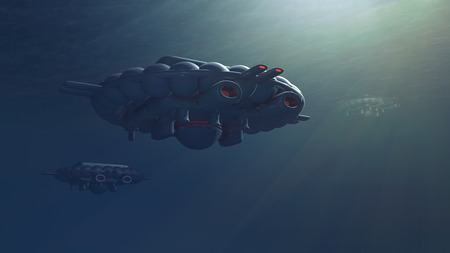 military invasion: Underwater UFO