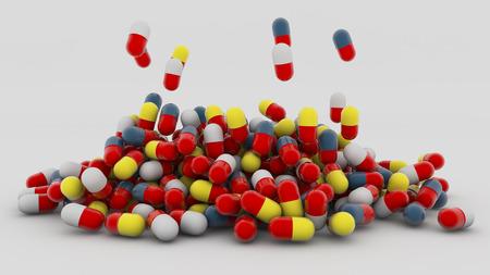 3d medicine capsules falling