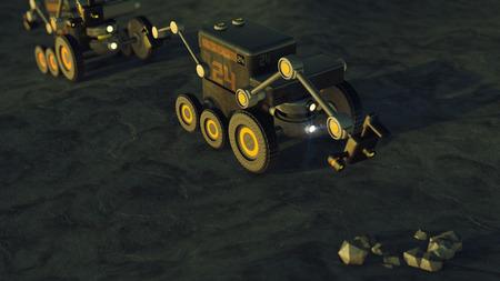 exploration: 3d render. Planet exploration vehicle