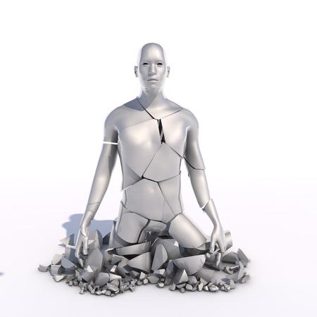 shattered: 3d render. Human shattered