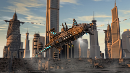 Spaceships and futuristic city