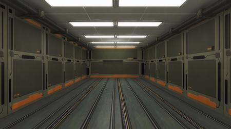 futuristic: Science fiction futuristic interior corridor Stock Photo