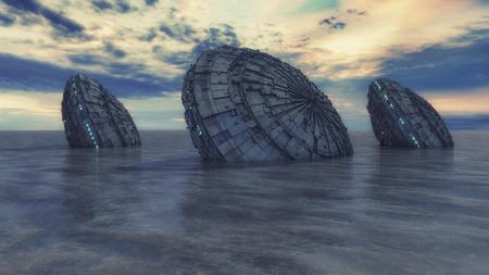 Ufo in water ocean